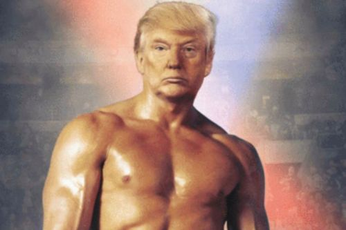 Trump tweets out doctored photo of his head on Rocky Balboa's body