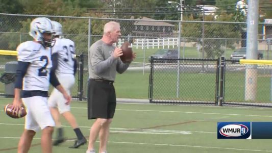 Coach Mac visits UNH Football Practice