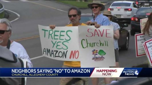 Opponents of proposed Amazon warehouse hold protest in Churchill