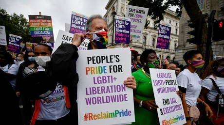 Gay rights activist Tatchell leads 'Reclaim Pride' march in London to protest 'too corporate' Pride events