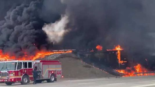 VIDEO: Fuel tanker overturns, sparking massive fire on Indiana highway