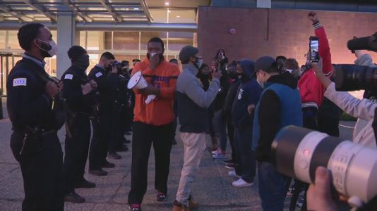 Smaller protests held Thursday night following release of Adam Toledo video