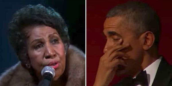 Here's the moment Aretha Franklin made President Obama tear up with her performance of 'A Natural Woman'