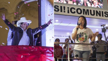 Leftist Castillo wins popular vote in Peru, as supporters of unyielding rival Fujimori declare themselves presidents-elect