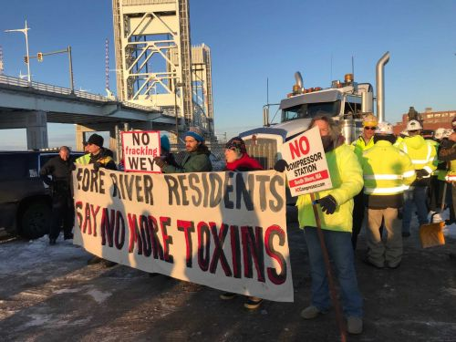 Protesters block entrance as work begins at Weymouth compressor station
