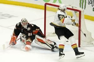 Karlsson scores twice, lifts Golden Knights past Ducks in OT