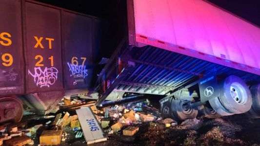 Train crashes through tractor-trailer in Marion County