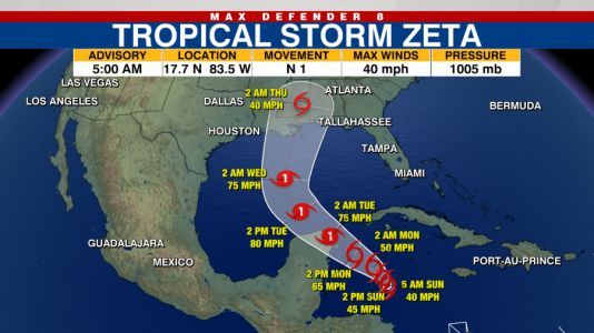 Tropical Storm Zeta forecast to intensify into hurricane as it enters Gulf