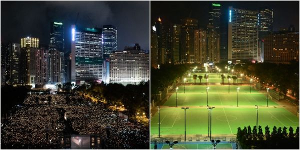 Photos show Hong Kong marking the Tiananmen Square crackdown anniversary before and after China imposed a security law which censored protests
