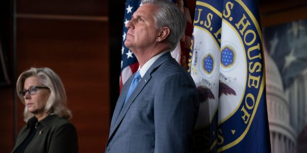 Republican leaders Kevin McCarthy and Liz Cheney clash over support for Trump at a press conference