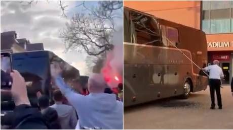 'Shameful': Window of Real Madrid bus SMASHED as Liverpool fans 'hurl missiles' ahead of Champions League clash at Anfield