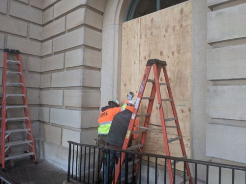 Illinois State Capitol boarded up as the National Guard prepares for protests