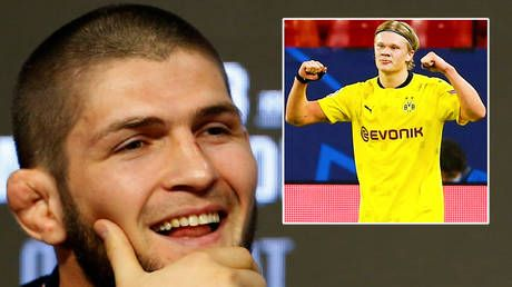 'No problem, champ': Khabib Nurmagomedov adds another shirt to his collection as football wonderkid Erling Haaland hails UFC king