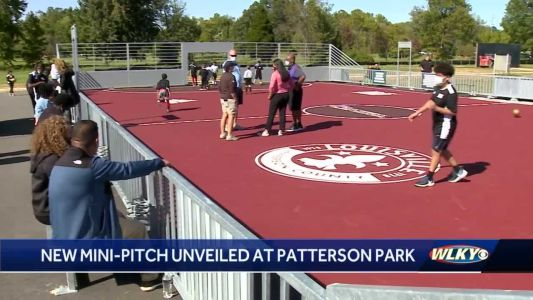 Racing Louisville FC players help unveil new soccer 'mini-pitch' in Newburg