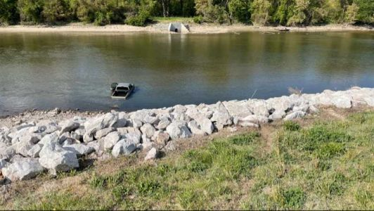 'Very fortunate': Driver unharmed after truck skids into Iowa river