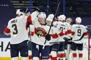 Panthers beat Lightning 5-3 to move into 2nd in Central