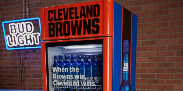 Bud Light is installing 'Victory Fridges' in Cleveland bars that will give out free beer to fans when the Browns win their first game - and everyone is making the same joke