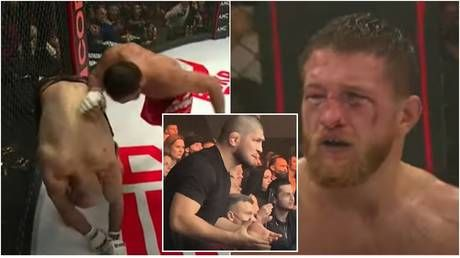 'Crazy': Russian MMA star Ismailov claims he 'passed out from lack of oxygen' as he loses megabout with Khabib watching on