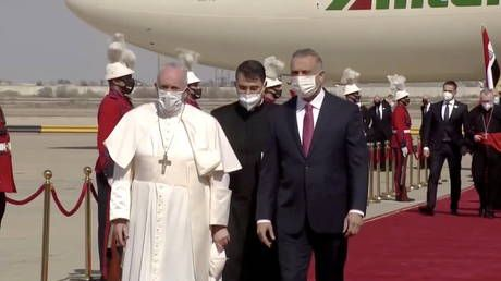 Pope Francis begins historic trip to Iraq in first papal visit to the Middle Eastern nation