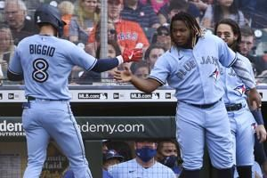 Biggio hits first HR in Houston, Jays top Astros 8-4