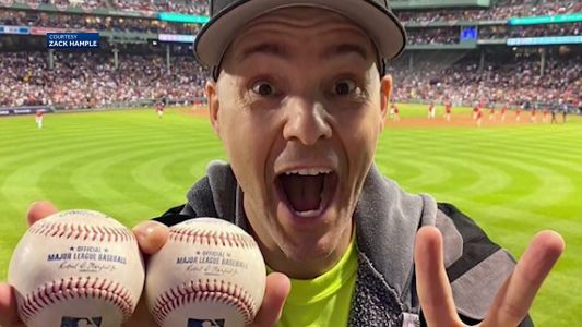 Professional baseball catcher snags 2 balls during Red Sox final ALDS game