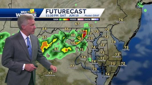 More humid, scattered t'storms possible Saturday