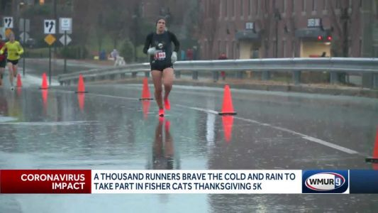 1,000 runners brave cold, rain to take part in Fisher Cats Thanksgiving 5K