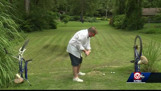 Merriam man builds 3-hole golf course in back yard