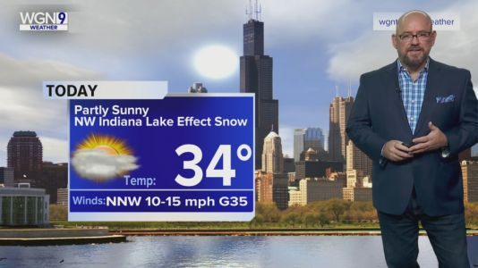 Monday Forecast: Temps in mid 30s, NW Indiana lake effect snow
