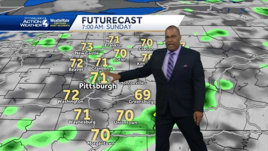 Rain showers and a storm for Sunday