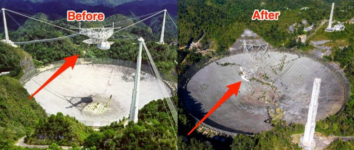 Photos show what the Arecibo telescope looked like before and after its disastrous collapse