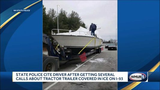 Tractor-trailer hauling boat covered in ice seen on I-93; driver cited, police say