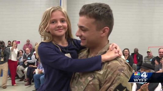 Soldier returns from South Korea and surprises little sister at school