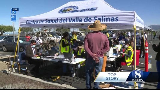 Department of Health and Human Services Xavier Becerra visited and observed a farmworker vaccination clinic in Salinas