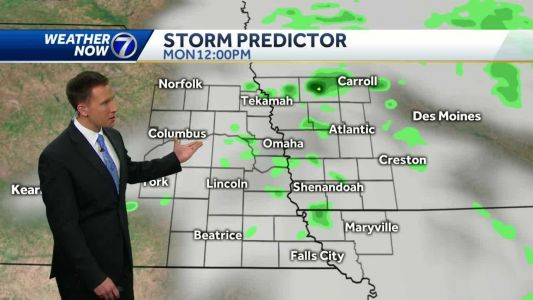 Isolated rain chance Monday, warmer through midweek